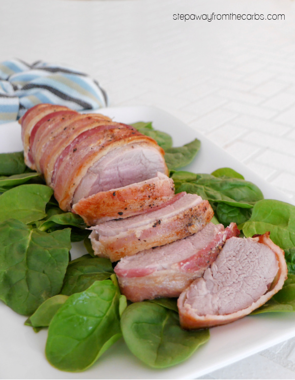 Bacon-Wrapped Pork Tenderloin - a delicious recipe that is very low in carbohydrates!
