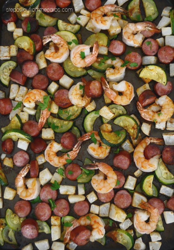 One Pan Sausage and Shrimp - an easy low carb and keto recipe with tons of flavor!