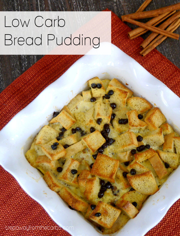 Low Carb Bread Pudding - a sugar free and keto-friendly recipe with cinnamon and chocolate!