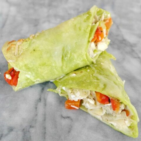 Warm Feta, Red Pepper and Artichoke Wraps