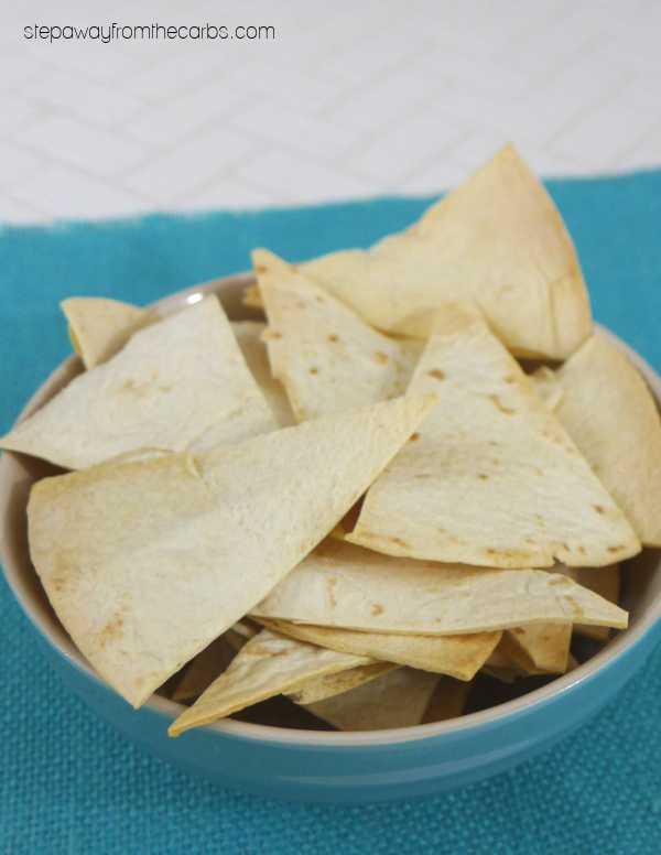 Low Carb Tortilla Chips - a super easy recipe that is perfect for snacking, dipping, and more!