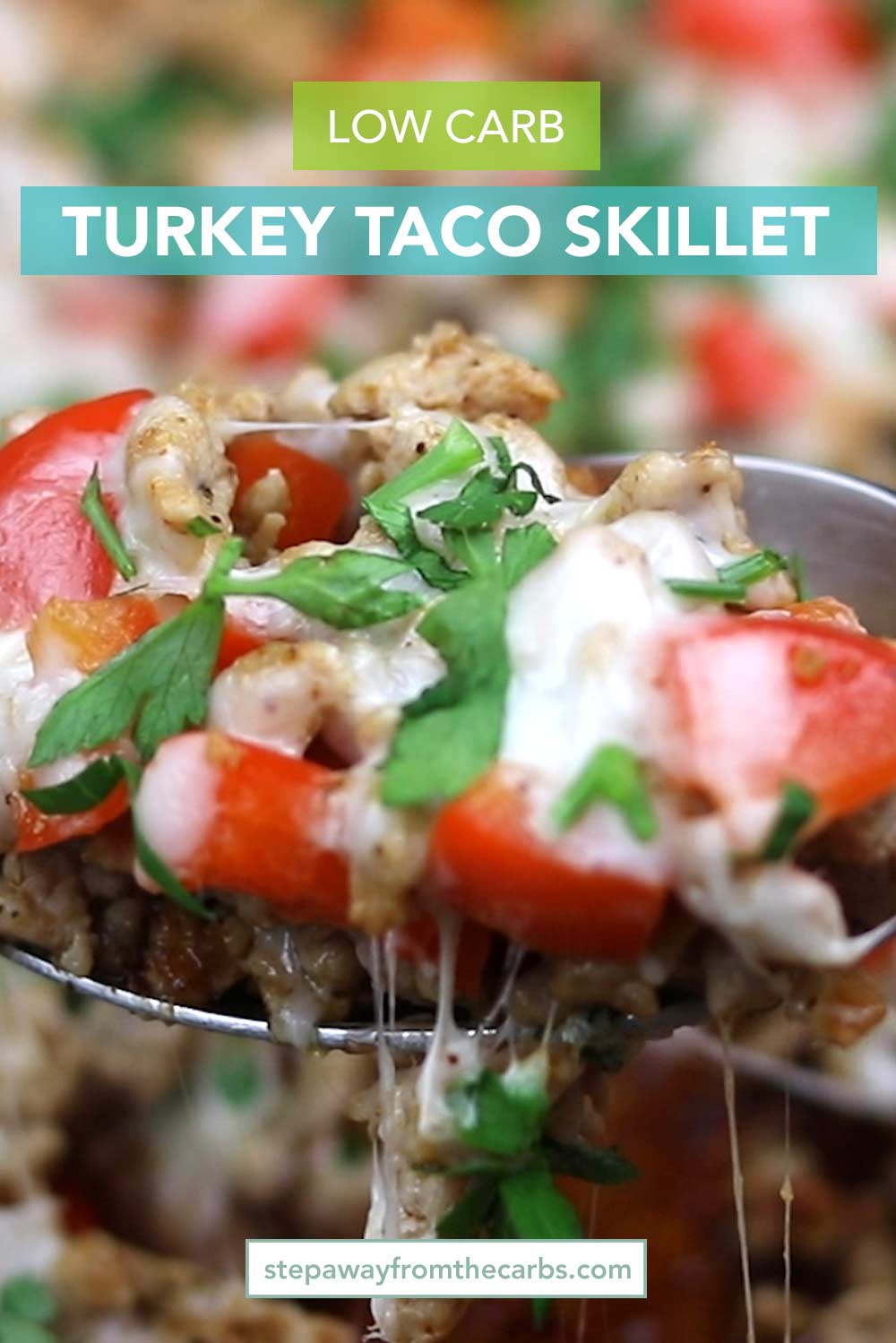 Low Carb Turkey Taco Skillet - an easy Mexican recipe with ground turkey and bell peppers