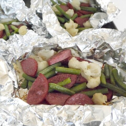 Sausage, Cauliflower and Green Bean Foil Packets