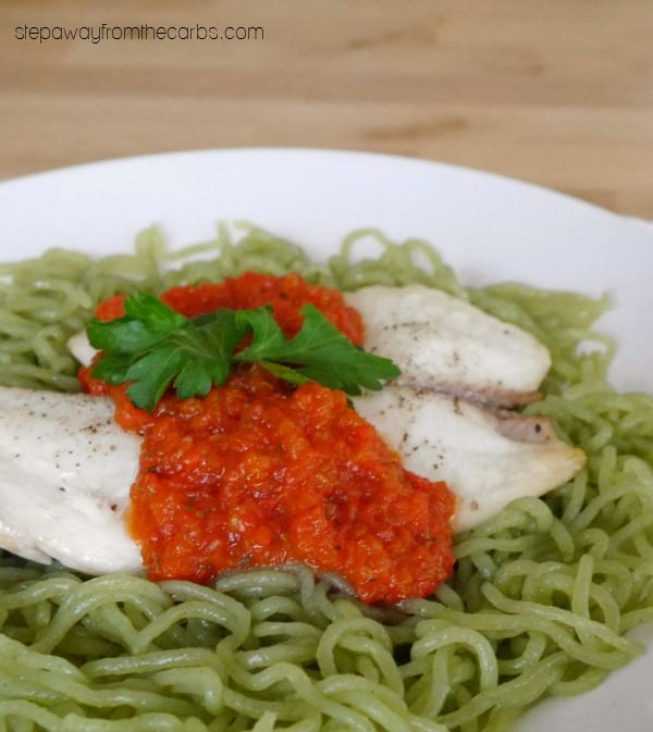 Tilapia with Roasted Red Pepper Sauce - low carb recipe