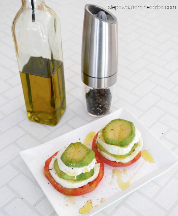 Avocado Caprese Stacks - a low carb appetizer or light lunch with tomato, fresh mozzarella, avocado, and basil
