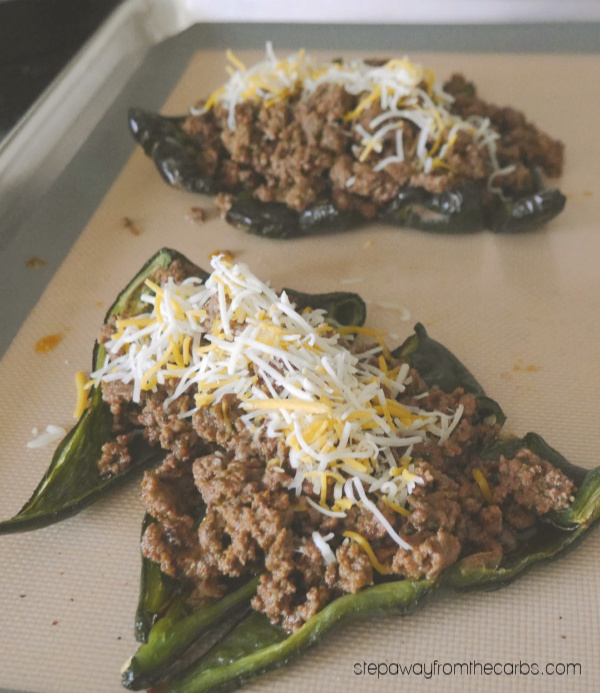 Beef Taco Stuffed Poblanos - low carb, keto, and gluten free recipe