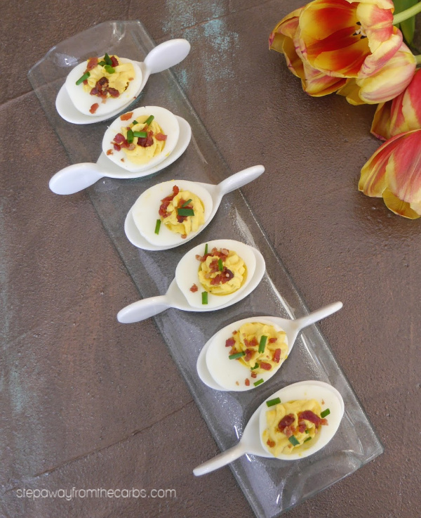 Cream Cheese and Bacon Deviled Eggs - low carb and keto appetizer recipe