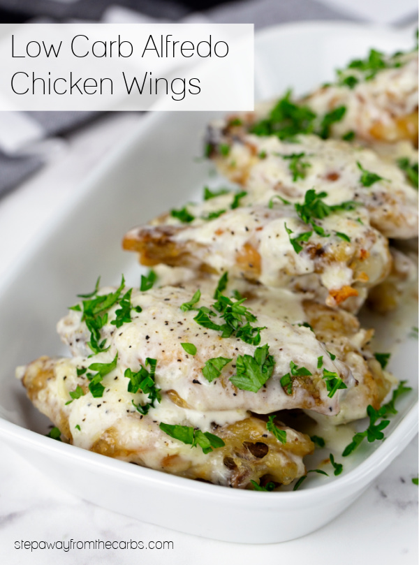 Low Carb Alfredo Chicken Wings - creamy, filling, and low in carbs! With video tutorial.