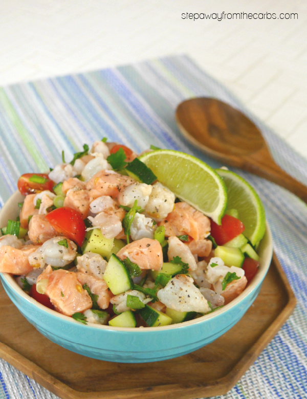 Low Carb Shrimp and Salmon Ceviche - a light, refreshing, and healthy appetizer recipe