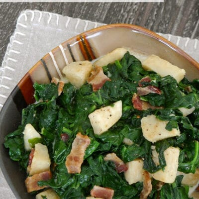 Low Carb Creamed Spinach with Celeriac and Bacon
