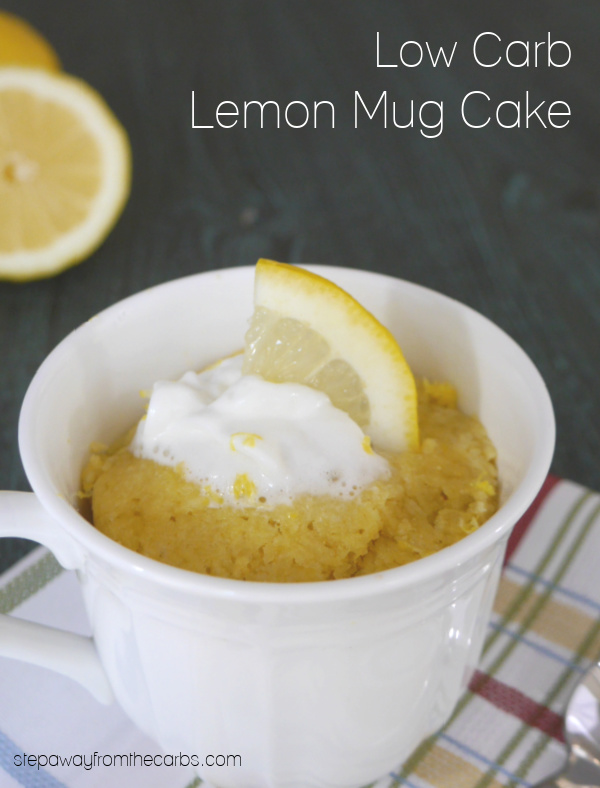 Low Carb Lemon Mug Cake - ready in less than two minutes! Sugar free recipe.