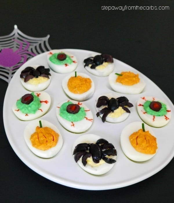Halloween Deviled Eggs - a low carb classic to serve at a party or as an appetizer!