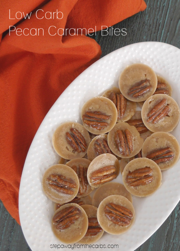 Low Carb Pecan Caramel Bites - buttery and crunchy sugar free treats!