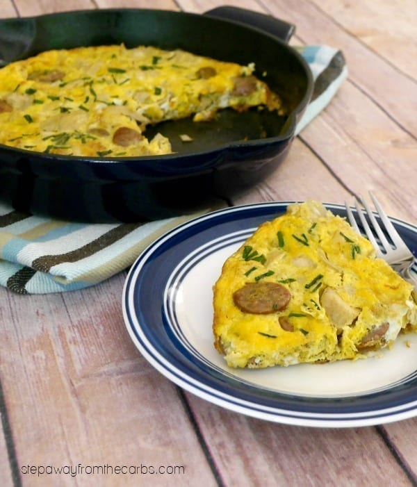 Low Carb Sausage and Artichoke Frittata - perfect for breakfast or lunch! Keto, paleo, dairy-free.