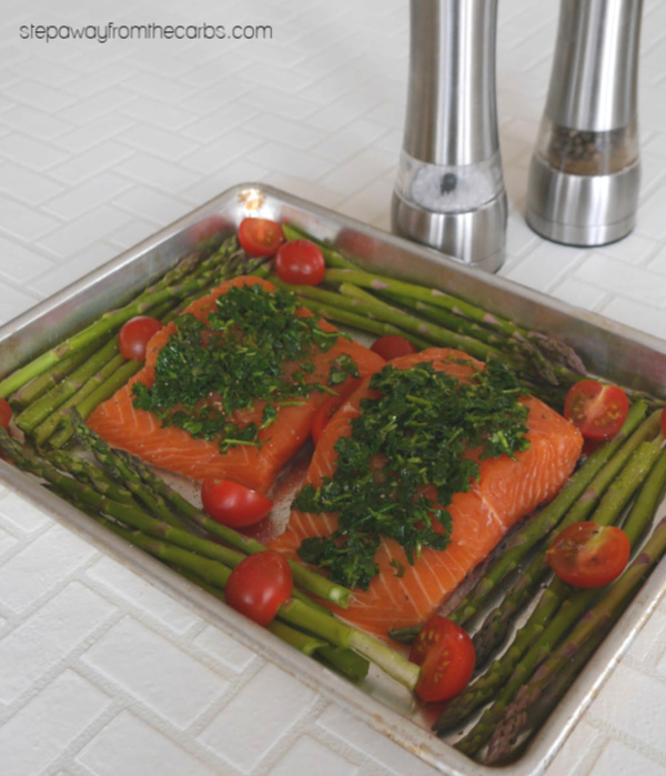 One Pan Herb Crusted Salmon and Asparagus - a healthy low carb recipe