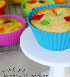 Low Carb Rainbow Cupcakes