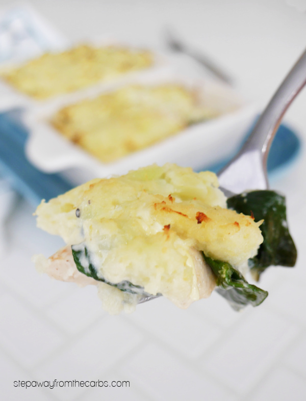 Individual Low Carb Chicken Pies - chicken, spinach, creamy sauce and a cauliflower topping!