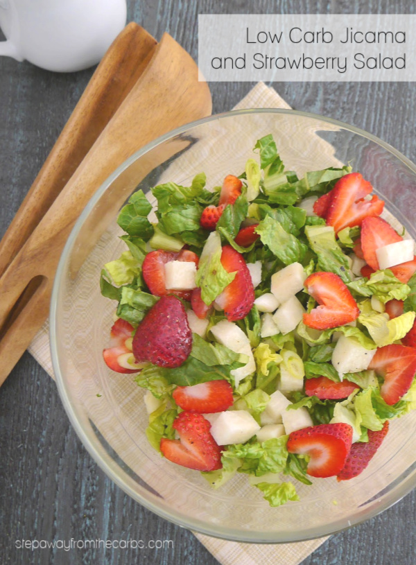 Low Carb Jicama and Strawberry Salad - a light and refreshing summer side dish recipe