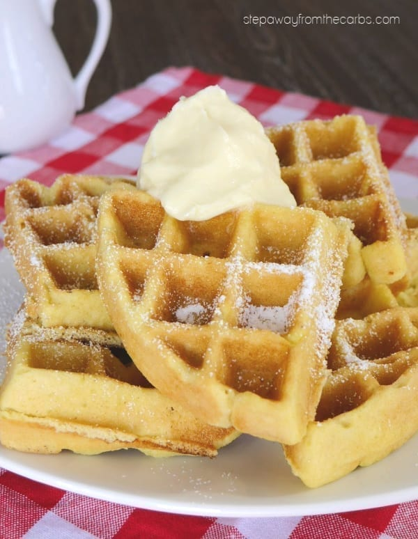 Low Carb Waffles with Whipped Butter - a tasty breakfast recipe that is sugar free, gluten free, and keto!