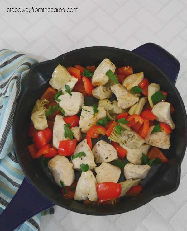 Low Carb Chicken Skillet with Red Pepper and Artichoke - a simple lunch recipe