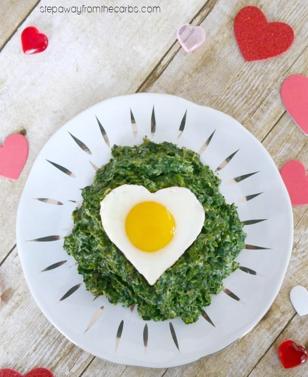 Low Carb Valentine's Breakfast - creamy spinach topped with a heart-shaped egg!