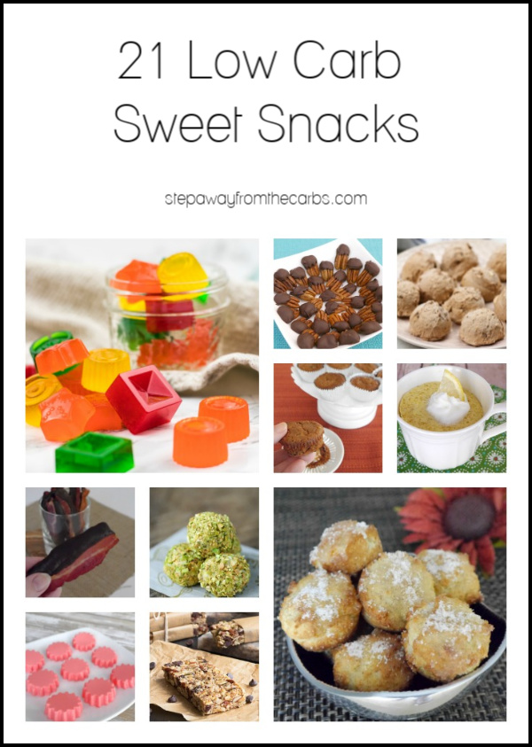 21 Low Carb Sweet Snacks - great ideas for anyone with a sweet tooth! Keto and sugar free recipes.