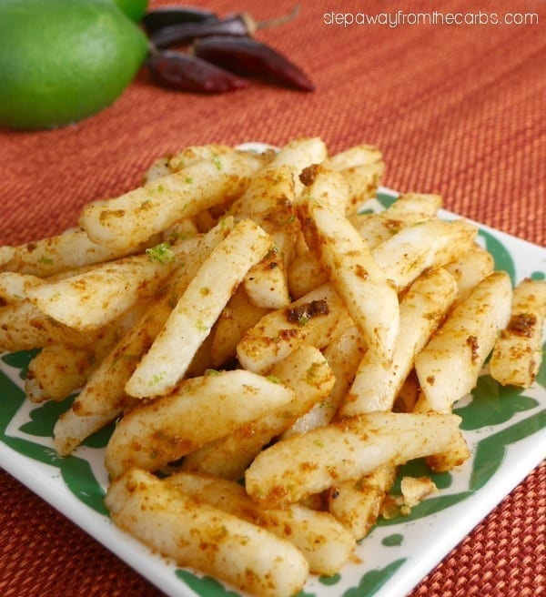 Jicama with Lime and Chipotle - a spicy Mexican low carb snack or appetizer!