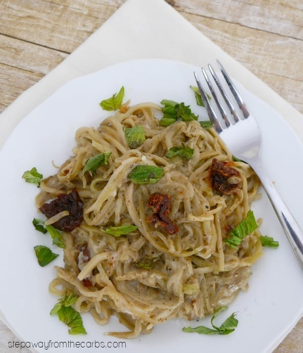 Low Carb Eggplant Noodles - a healthy vegetarian alternative to pasta!