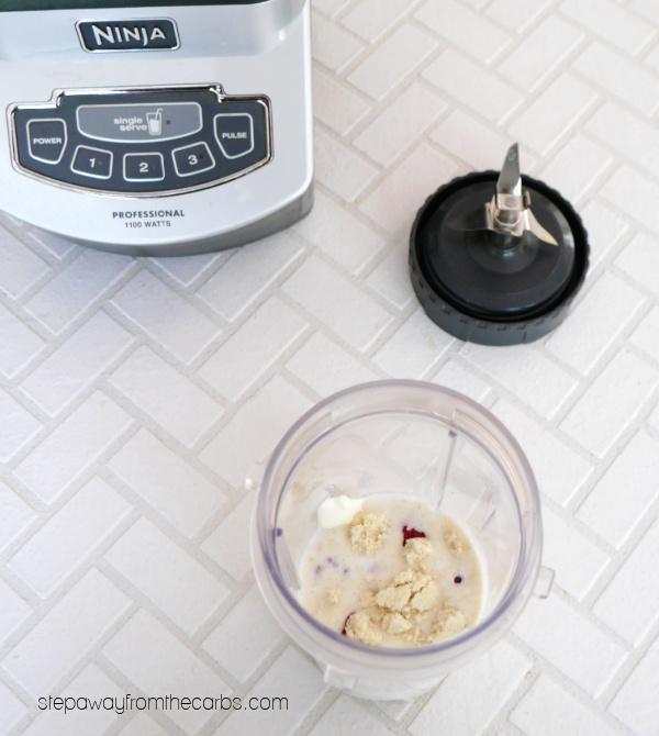Low Carb Raspberry Cheesecake Shake - sugar free, LCHF, and keto recipe