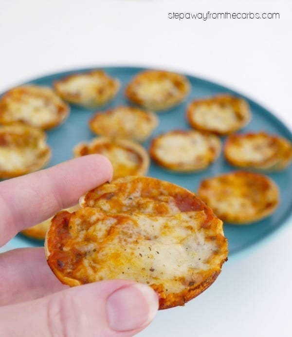 Low Carb Pizza Bites - only five ingredients, including a low carb tortilla base. Great for entertaining!