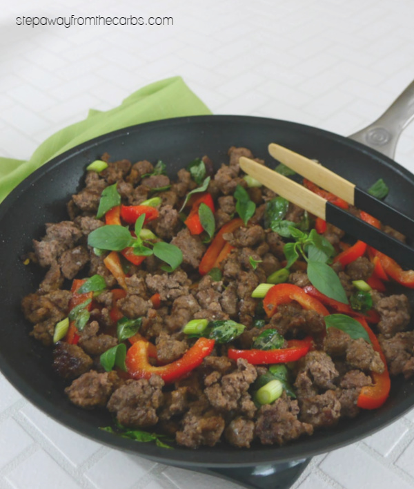 Low Carb Thai Basil Beef - a delicious recipe that is salty, sweet, sour and with a hint of aniseed!