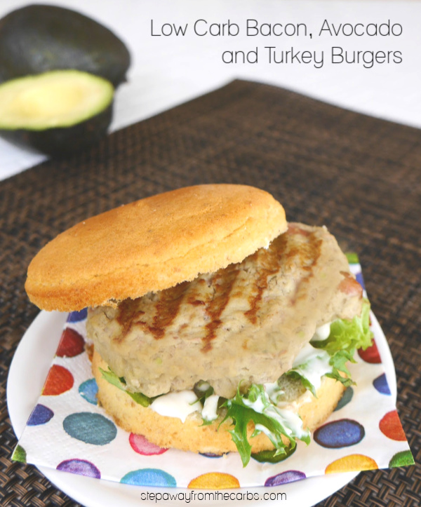Low Carb Bacon Avocado and Turkey Burgers - served with mayo on a low carb bun!
