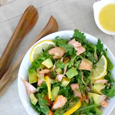 Salmon, Avocado, and Arugula Salad with lemon dressing