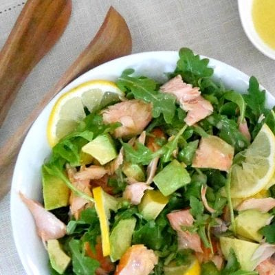 Salmon, Avocado and Arugula Salad with Lemon Dressing