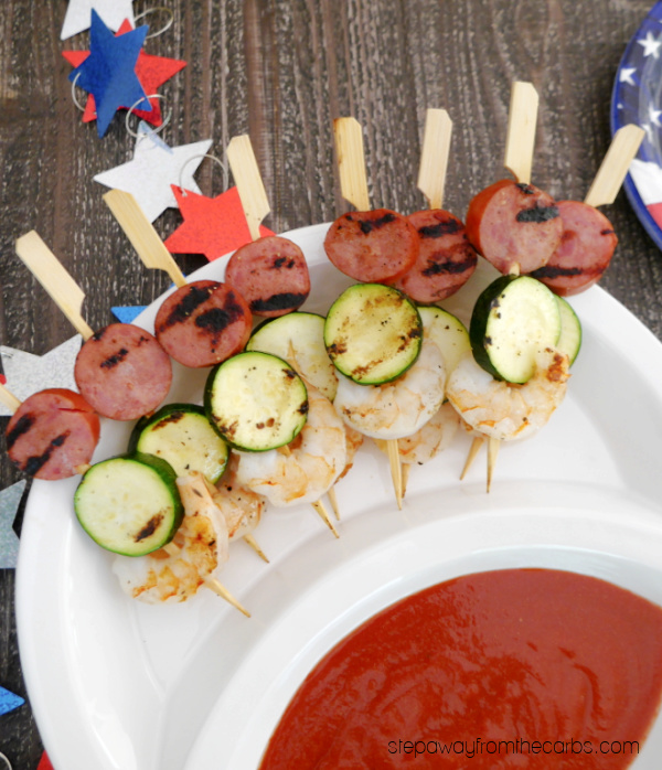 Sausage, Shrimp and Zucchini Skewers - an easy low carb recipe that is perfect for summer grilling!