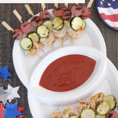 Sausage, Shrimp and Zucchini Skewers