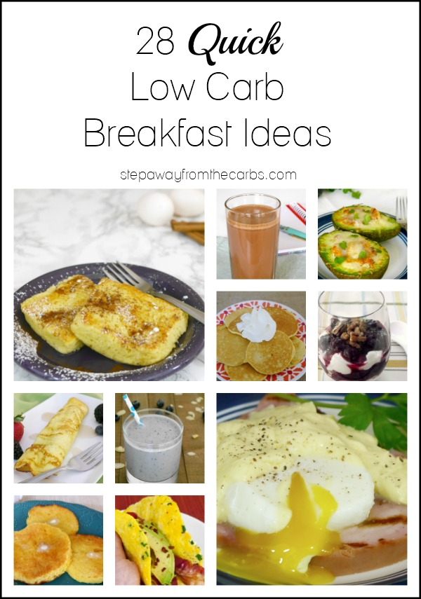 28 Quick Low Carb Breakfast Ideas - recipes and products that are ready to eat in less than 10 minutes!
