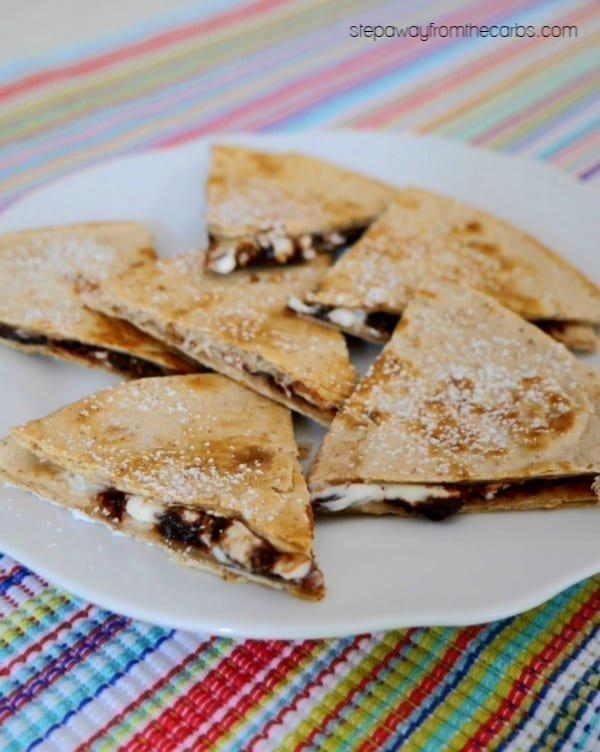 Low Carb Chocolate Quesadilla - an ooey gooey sweet treat to share! Sugar free recipe.