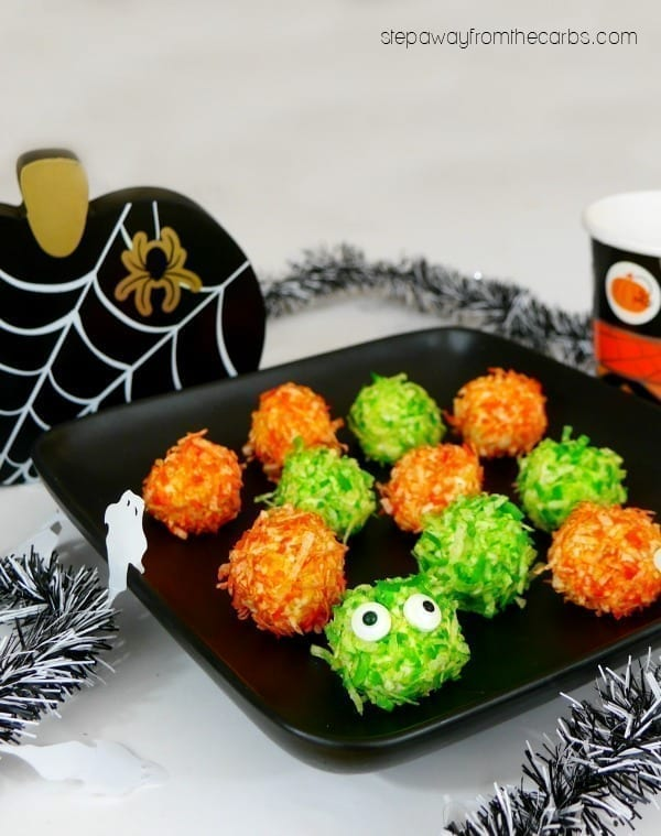 Low Carb Monster Bites - a sweet treat for Halloween! LCHF, keto, and sugar free recipe.