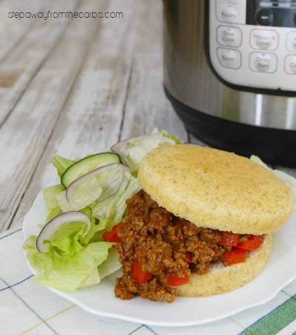 Low Carb Sloppy Joes in the Instant Pot - served with a low carb bun!