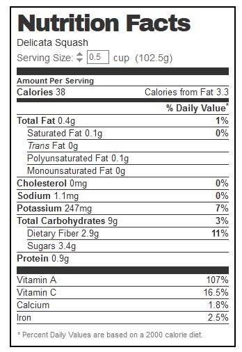 Delicata Squash Nutrition - from Nutrionix.com