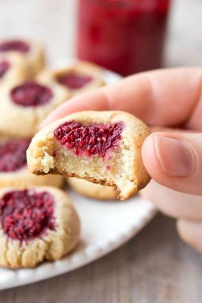 Low Carb Raspberry Thumbprint Cookies