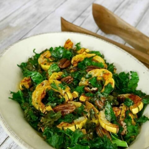 Delicata Squash with Kale and Pecans