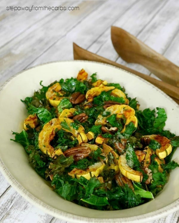 Low Carb Delicata Squash with Kale and Pecans - a delicious warm side dish recipe
