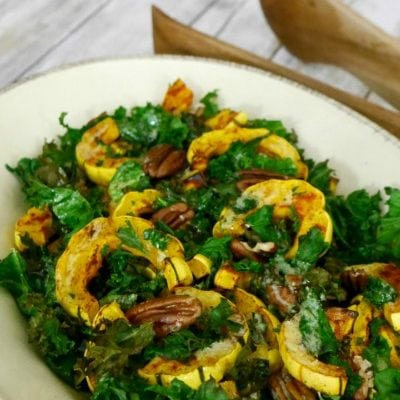 Low Carb Delicata Squash with Kale and Pecans