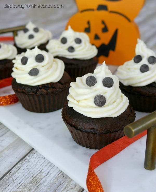 Low Carb Ghost Cupcakes - perfect for Halloween! Keto, sugar free, and gluten free recipe.