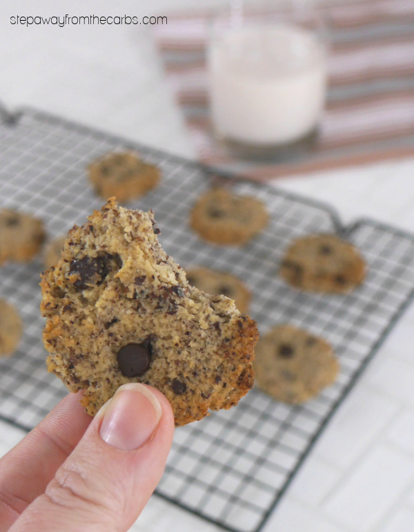 Low Carb Hazelnut and Chocolate Chip Cookies - sugar free, keto, and gluten free recipe with just four ingredients