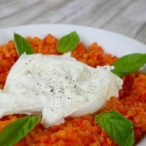Cauliflower Risotto with Roasted Red Peppers and Burrata
