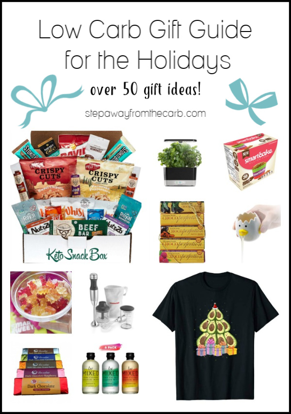 Low Carb Gift Guide for the Holidays! Over 50 gift ideas including treats, subscription boxes, apparel, kitchenware, and more!