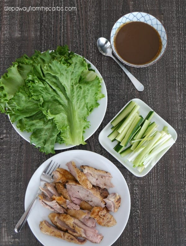 Low Carb Peking Duck - roasted duck served with homemade Hoisin sauce and lettuce wraps